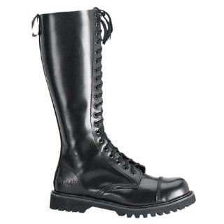 Boots 20 Eyelet Single Sole Knee Boot Black Leather Steel Toe Shoes