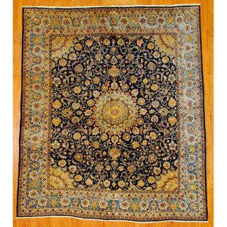 Persian Hand knotted Navy/Light Blue Mashad Wool Rug (94 x 112