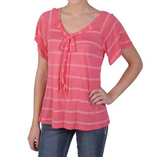 Tressa Designs Womens Contemporary Plus Bow Detail Short sleeve Shirt