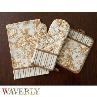 Waverly Tea Rose Toile Kitchen Towel, Oven Mitt and Pot Holder