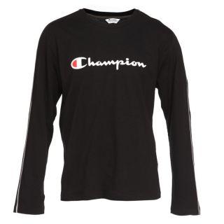 Coloris  noir. T shirt CHAMPION Homme 100% Coton, à manches longues
