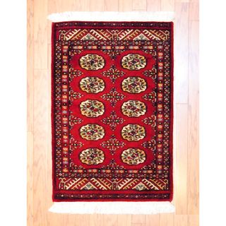 Pakistani Hand knotted Red/ Ivory Bokhara Wool Rug (2 x 3