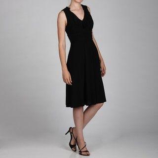 Jessica Howard Womens Sleeveless Ruffle Ruche Waist Dress