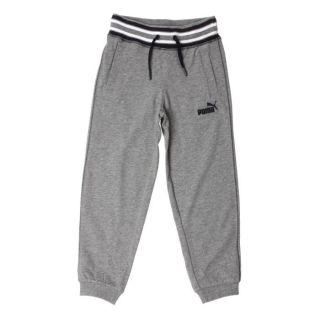 PUMA Pantalon de Survêtement Garçon Gris chiné, blanc et noir