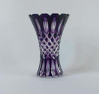 Black Tie Crystal Amethyst Purple Prague Vase (Russia)