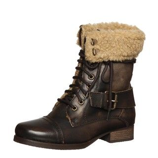 Diba Womens Miss You Dark Brown Aviator Boots