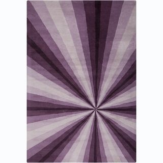 Allie Handmade Abstract Purple/ Lavender Wool Rug (5 x 76