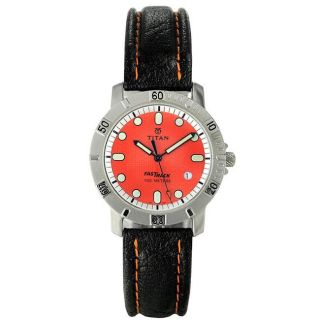 Titan Mens Casual Black Leather Strap Orange Dial Watch