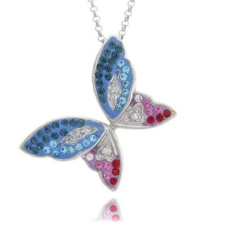 Sterling Silver Colored Crystal Butterfly Necklace
