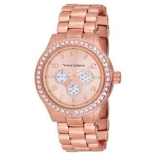 Vernier Womens V11088 Rose Gold Chrono Look Glitz Bracelet Quartz