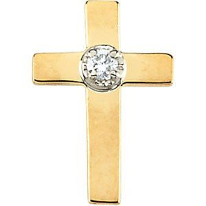 14k Yellow Gold Cross Lapel Pin With Diamond 9x7mm