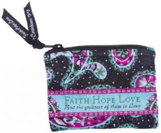 Faith Hope Love Quilted Coin Purse   Pink Trim Shoes