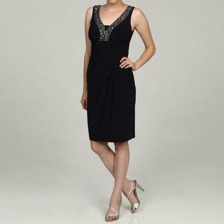 Anne Klein Womens Bead Embellished Jersey Dress