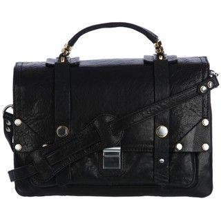 Oryany Misia Black Leather Flap Satchel