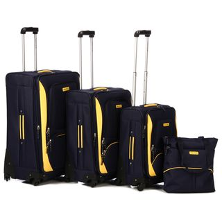 Nautica Downhaul Navy/ Lighthouse Yellow 4 piece Luggage Set