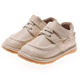 Little Blue Lamb Toddler/ Infant Cream Leather Squeaky Shoes