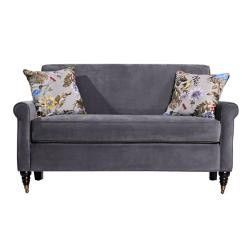 angeloHOME Harlow Silver Gray Velvet Sofa with Decorative Pillows