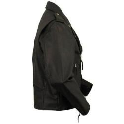 FMC Mens Black Classic Leather Motorcycle Jacket with Zip Out Liner