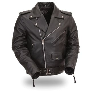 FMC Mens Classic Side lace Motorcycle Leather Jacket