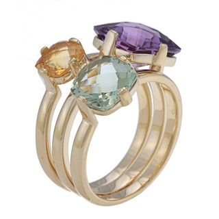 Beverly Hills Charm 14k Yellow Gold Amethyst, Citrine and Prasiolite