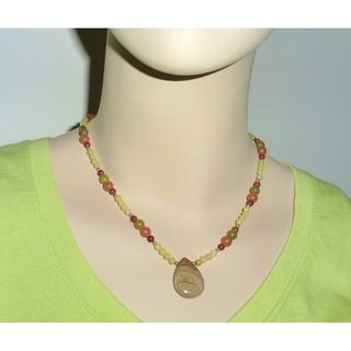 Every Morning Design Olive Green Saturn Jasper Necklace