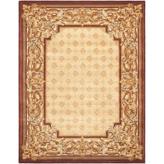 Asian Hand knotted Savonnerie Beige Wool Rug (9 x 12)