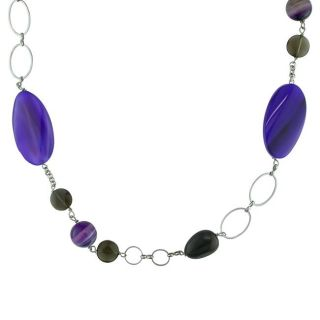 Silvertone Brass Multi gemstone Bead Necklace