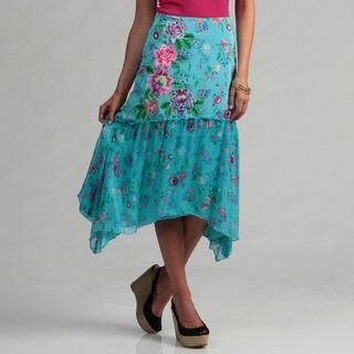 Ebene Shark Bite Hem Floral Print Long Skirt