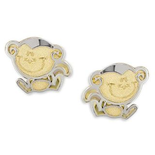 14k Two tone Gold Monkey Baby Earrings