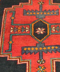 Persian Bidjar Hand knotted Black/ Brown Rug (37 x 128)