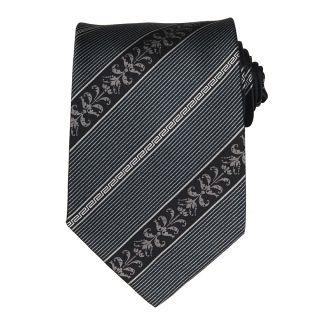 Versace Mens Acanthus Leaf Greek Key Stripe Silk Tie