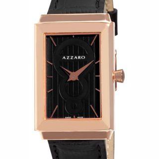 Azzaro Mens Legend Rectangular Rose Gold PVD Black Strap Watch