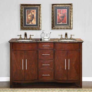 Silkroad Exclusive Double Sink 58 inch Granite Top Vanity Cabinet