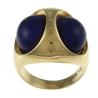 18k Yellow Gold Lapis Cocktail Estate Ring