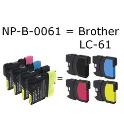 Brother LC 61 Black/ Colored Ink Cartridges (Pack of 5)