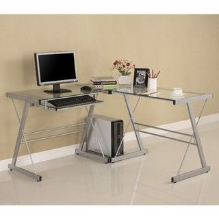 Shape Glass Corner Computer Desk