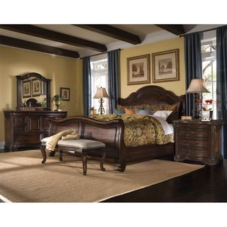 King size Corondo 4 piece Wood/ Leather Bedroom Set