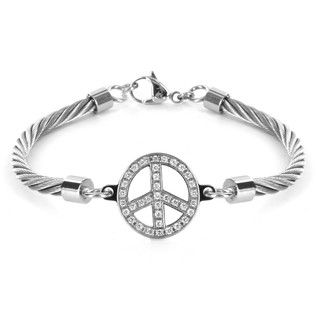 Stainless Steel Cubic Zirconia Peace Symbol Bracelet