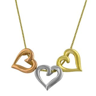 10k Tri color Gold 18 inch Triple Heart Necklace