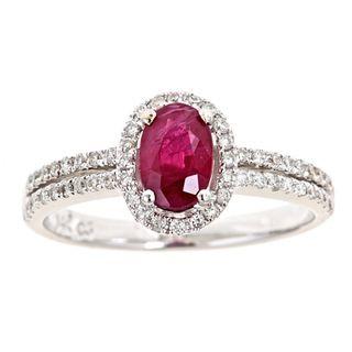 yach 14k Gold Ruby and 1/3ct TDW Diamond Ring (G H, I1 I2