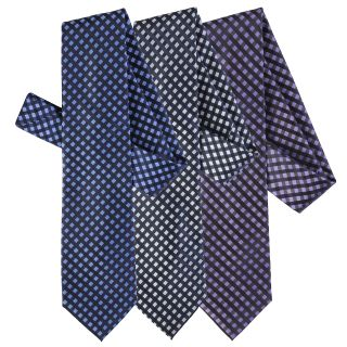 Boston Traveler Mens Window Pane Print Microfiber Tie and Hanky Set