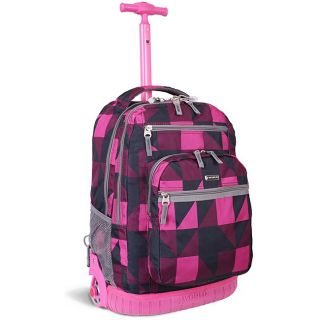 World Sundance Pink Block 19.5 inch Rolling Backpack with Laptop