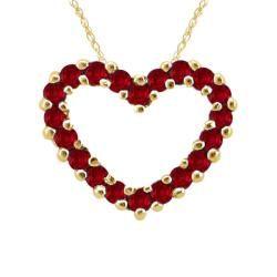 10k Gold January Birthstone Prong set Garnet Designer Heart Necklace