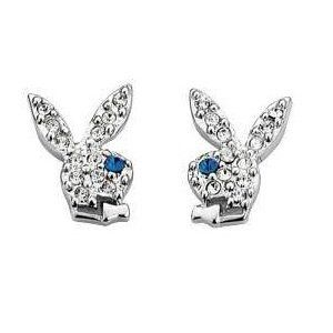 Playboy Earrings Silver Plated Pave Crystal Bunny Logo