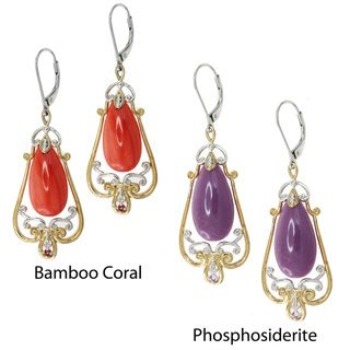 Michael Valitutti Two tone Phosphosiderite or Bamboo Coral Earrings