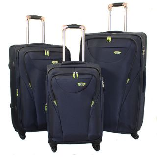 American Green Travel Navy 3 piece Expandable Spinner Luggage Set with