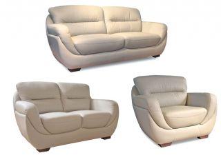 Bone Leather Sofa, Loveseat, & Chair