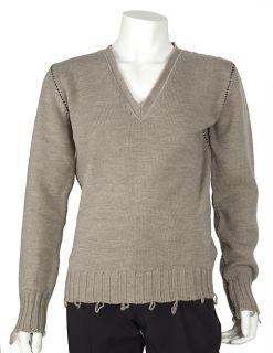 Dolce & Gabbana Sand Knit Wool V neck Sweater