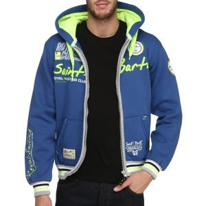 GEOGRAPHICAL NORWAY Sweat Homme Bleu royal, gris, jaune et blanc