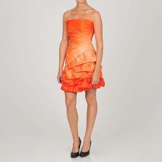 Onyx Nite Womens Junior Tangerine Bubble Hem Party Dress